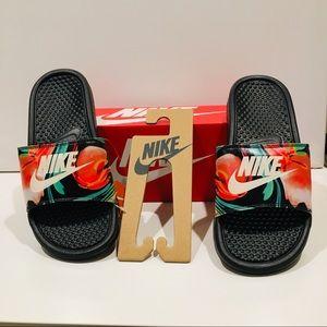 Nike Women's Benassi Floral black slides